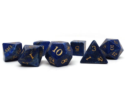 Stone Dice Collection - Lapis with Gold Numbering - Signature Font