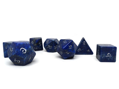 Stone Dice Collection - Lapis with Silver Numbering - Elvenkind Font