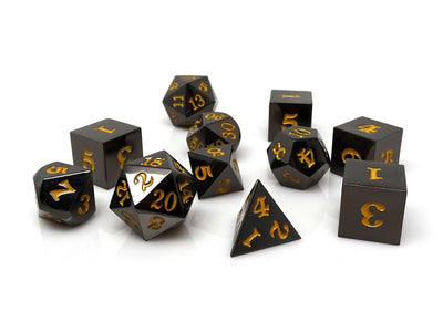 Gun Metal 11 Piece Dice Set - Signature Font - Gold