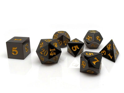 Gun Metal 7 Piece Dice Set - Signature Font - Gold