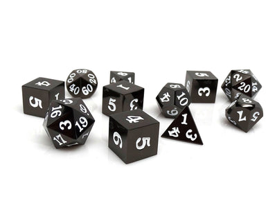 Gun Metal 11 Piece Dice Set - Signature Font - White