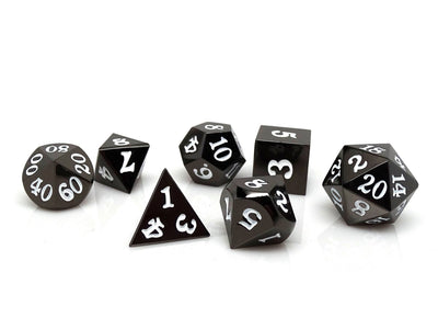 Gun Metal 7 Piece Dice Set - Signature Font - White