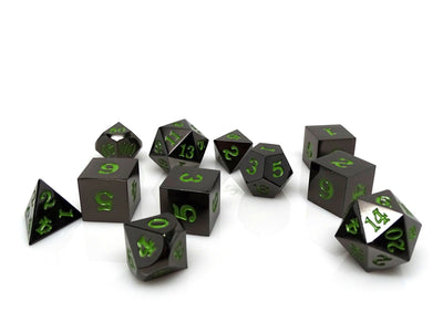 Gun Metal 11 Piece Dice Set - Signature Font - Serpent Blood