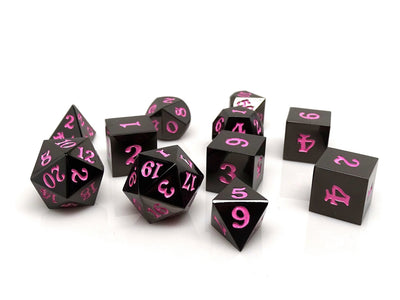 Gun Metal 11 Piece Dice Set - Signature Font - Pink