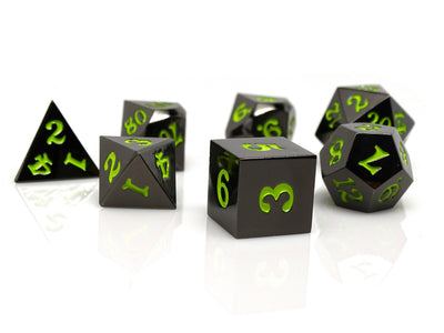 Gun Metal 7 Piece Dice Set - Signature Font - Lime