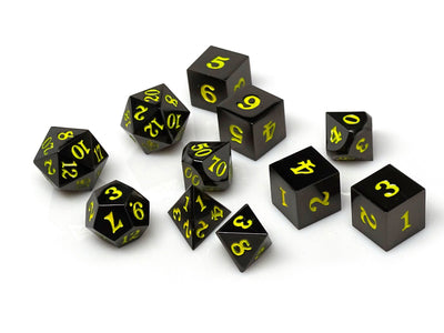 Gun Metal 11 Piece Dice Set - Signature Font - Yellow