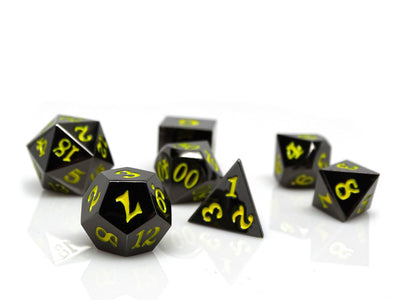 Gun Metal 7 Piece Dice Set - Signature Font - Yellow