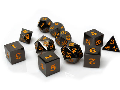 Gun Metal 11 Piece Dice Set - Signature Font - Orange