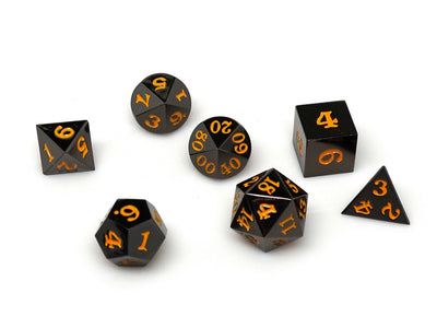 Gun Metal 7 Piece Dice Set - Signature Font - Orange