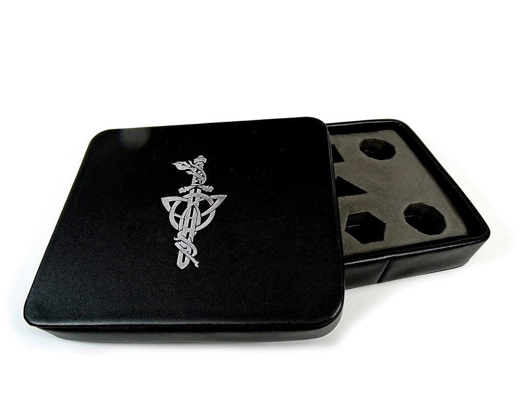 Dice Display and Storage Case - Silver Dagger Design