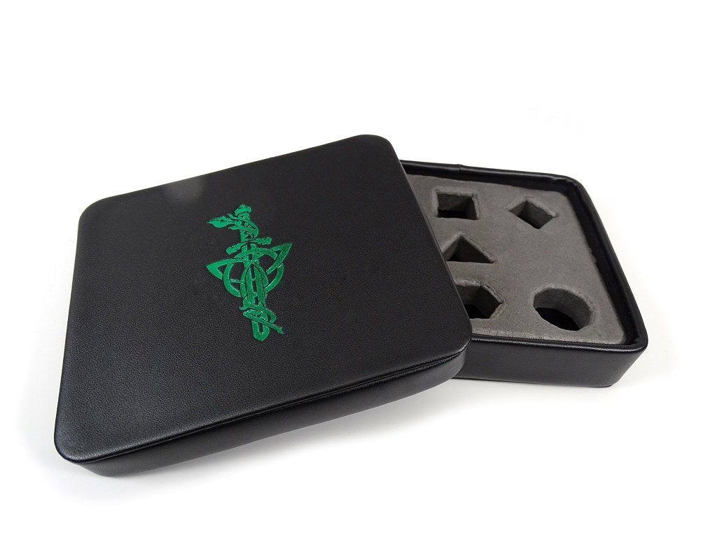 Dice Display and Storage Case - Green Dagger Design