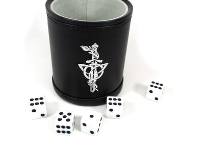 Leather Lite Dice Cup - Silver Dagger Design - Includes 5 FREE Dice!