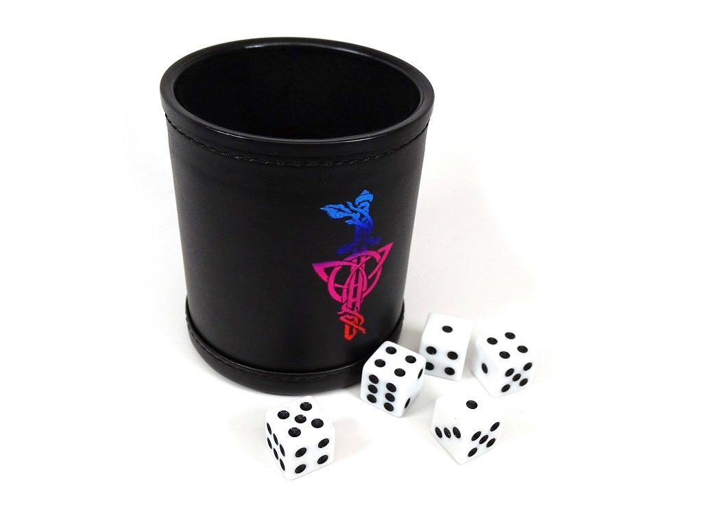 Leather Lite Dice Cup - Multi Color Dagger Design - Includes 5 FREE Dice!