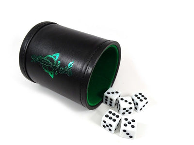 Leather Lite Dice Cup - Green Dagger Design - Includes 5 FREE Dice!