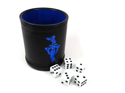 Leather Lite Dice Cup - Blue Dagger Design - Includes 5 FREE Dice!