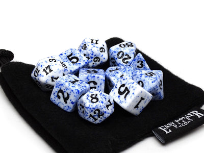 Blue Color Spray Dice Collection - Black Font - 11 Piece Set