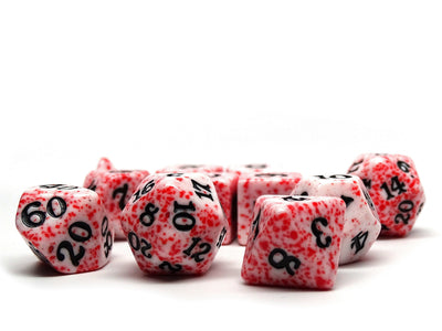 Red Color Spray Dice Collection - Black Font - 11 Piece Set