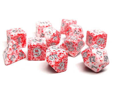 Red Color Spray Dice Collection - Silver Font - 11 Piece Set