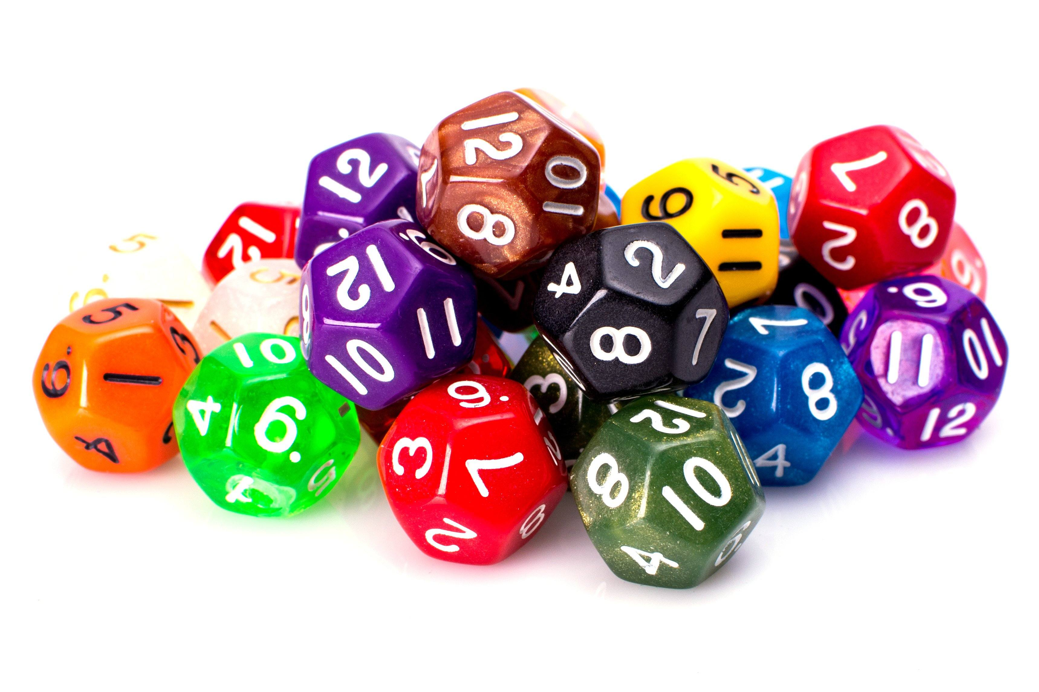12 sided dice 25 count assorted multi colored d12s easy roller