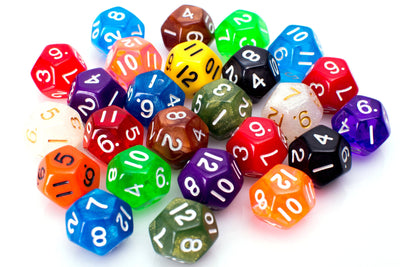 12 Sided Dice | 25 Count Assorted | Multi Colored D12s