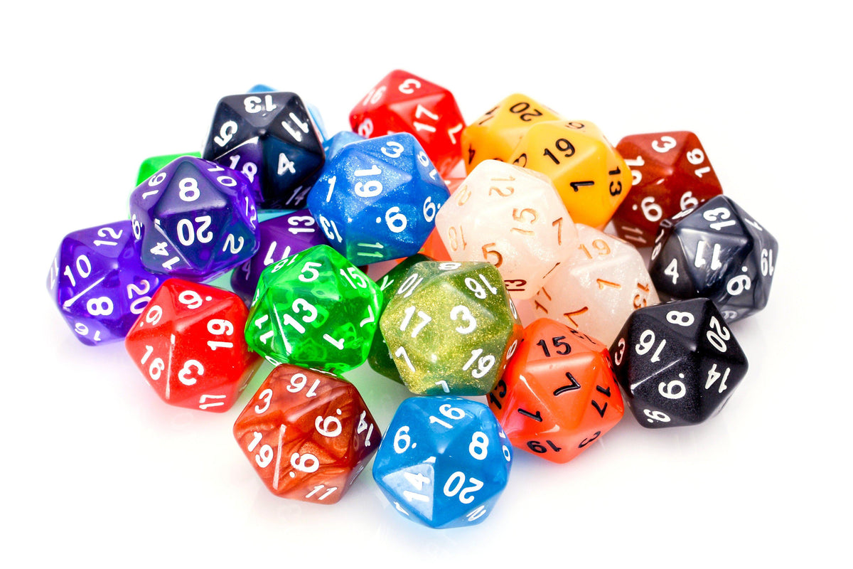 Bulk 20 Sided Dice | 25 Count Assorted D20s