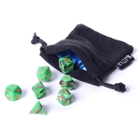 Emerald Swirl Dice - 7 Piece Set With Bag