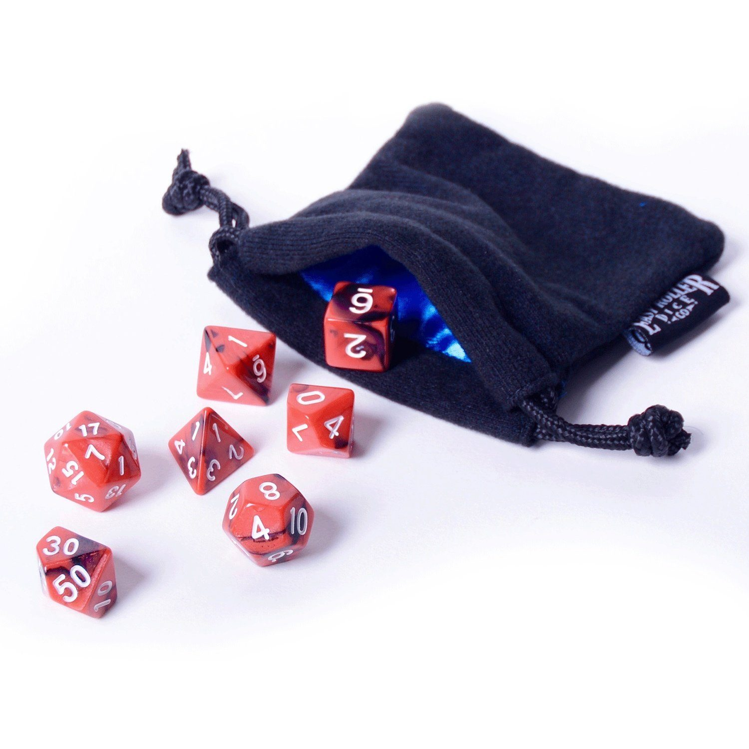 Fireball Dice  Red With Black Swirl - 7 Piece Set With Bag