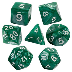 Green Marbled Dice  7 PC Set With Carrying Bag