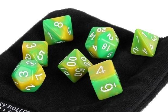 Green Gold Swirl 7 Piece Dice Set