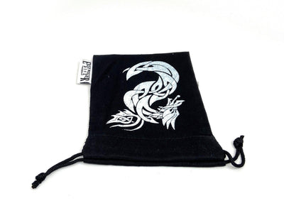Small Cotton Twill Dice Bag - Celtic Knot Dragon Design