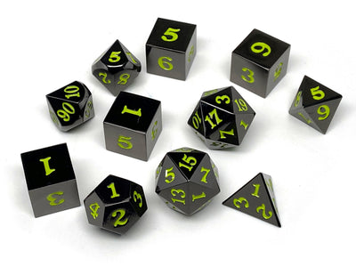 Gun Metal 11 Piece Dice Set - Signature Font - Lime