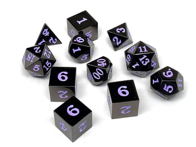 Gun Metal 11 Piece Dice Set - Signature Font - Purple