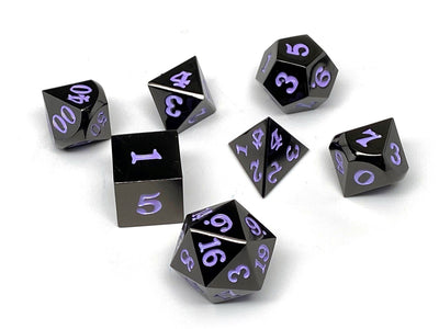 Gun Metal 7 Piece Dice Set - Signature Font - Purple