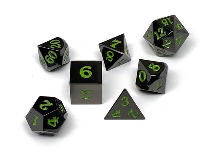 Gun Metal 7 Piece Dice Set - Signature Font - Serpent Blood