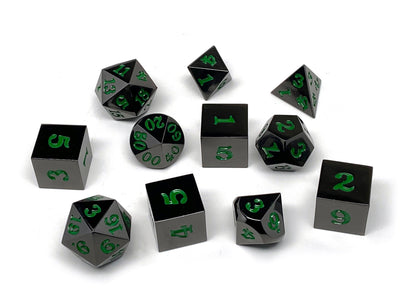 Gun Metal 11 Piece Dice Set - Signature Font - Green