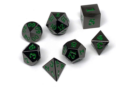 Gun Metal 7 Piece Dice Set - Signature Font - Green