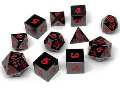 Gun Metal 11 Piece Dice Set - Signature Font - Red
