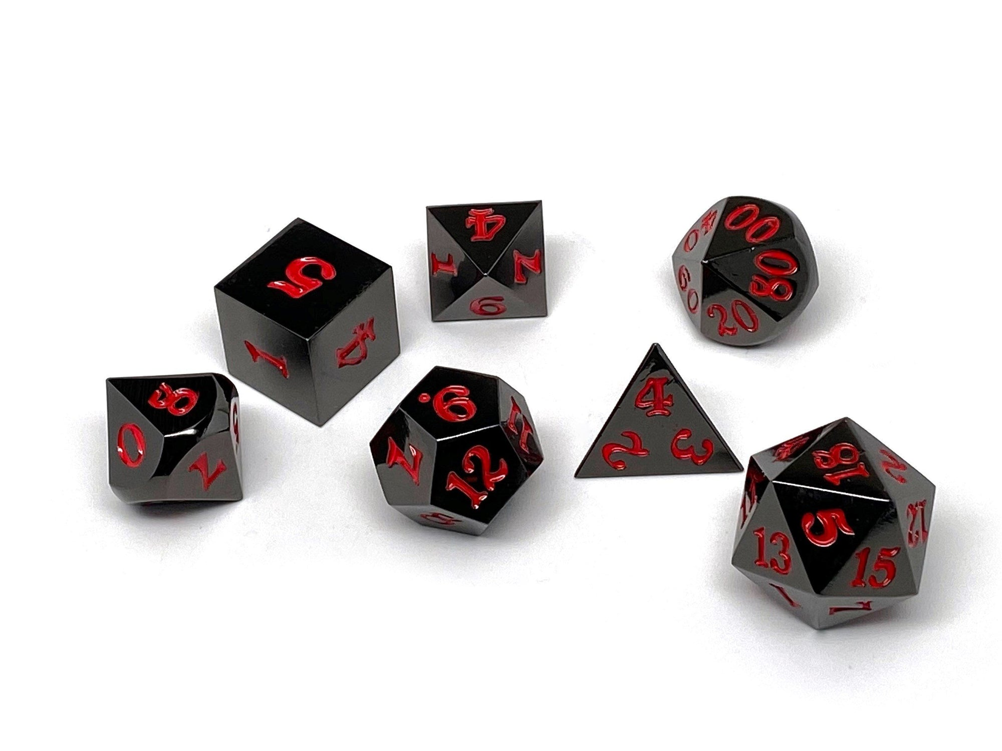 Gun Metal 7 Piece Dice Set - Signature Font - Red