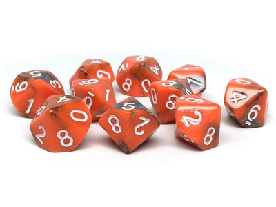 D10 Pack - Ten Count Pack of Orange and Grey Granite 10 Sided Dice