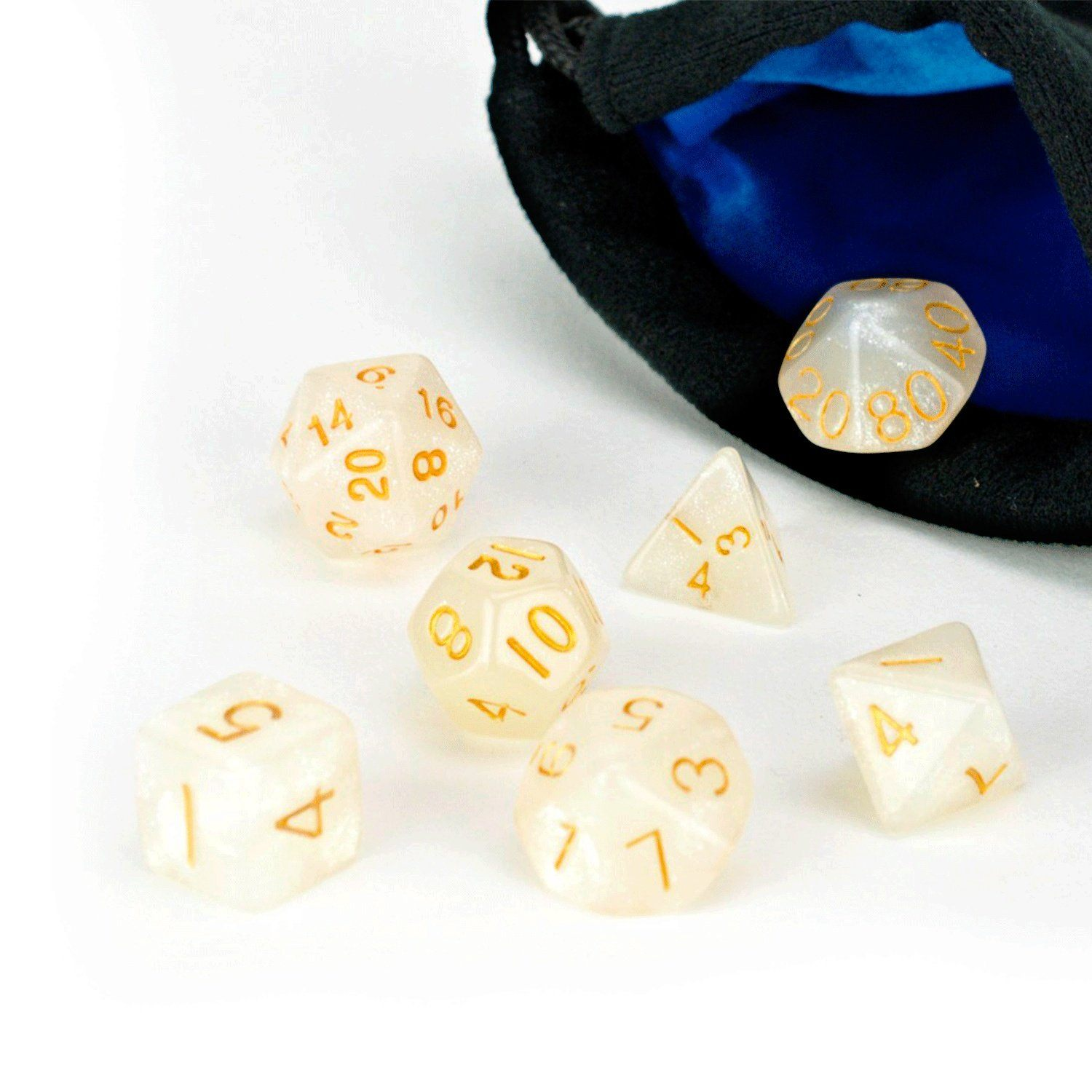 Ivory Dice Set - 7 Piece Set With Bag