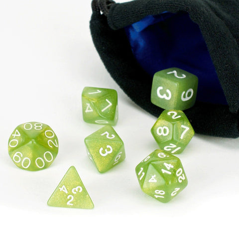 Olive Green Dice - 7 Piece Set With Bag