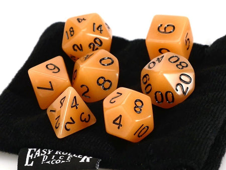 Amber Opaque 7 Piece Dice Set With Bag