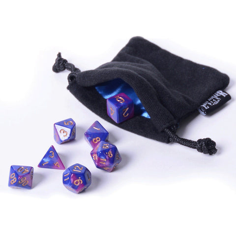 Purple Dawn Dice - 7 Piece Set With Bag