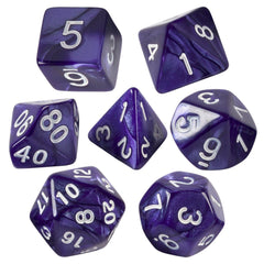 Purple Marbled Dice  7 PC Set With Carrying Bag