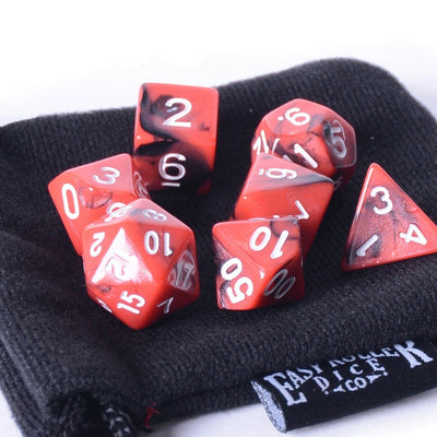 Red And Black Swirl 7 Dice Set