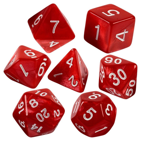 Red Marbled 7 Dice Set With Bag