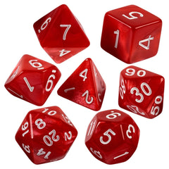 Red Marbled Dice  7 Pc Set With Carrying Bag