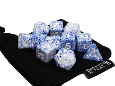 Blue Color Spray Dice Collection - White Font - 11 Piece Set