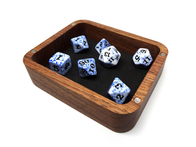 Black Walnut Wood Dice Case - Raven Design