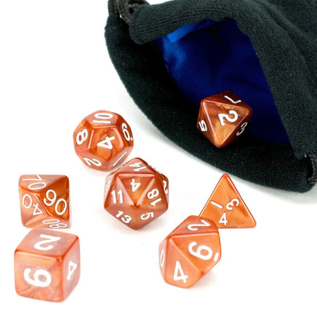 brown dice with bag